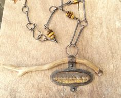 Driftwood Rough Tiger Eye Pendant Copper Necklace by annamei