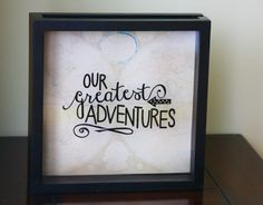 "OUR ADVENTURES Shadow Box 12x12"", Made to Order, Ticket Stub, Gift for Traveler, World Traveler, Ticket Shadow Box"