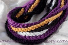 UNIQUE SUPER BOWL Crochet Infinity Chain Scarf - Baltimore Ravens by OneBeautifulLife, $25.00
