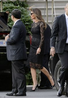 First Lady Melania Trump was elegant in a black lace cocktail dress and black leather stil. Donald And Melania Trump, First Lady Melania Trump, Donald Trump, Melania Trump Dress, Malania Trump, Trump Is My President, Vice President, Black Lace Cocktail Dress, Classy Women