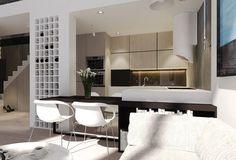 couleur pour cuisine moderne - armoires en bois clair, îlot blanc avec plan de travail en bois sombre
