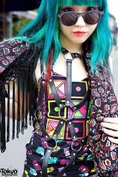 Spinns Harajuku top, leather harness from Avantgarde Harajuku, Yosuke boots & Topshop vest II Tokyofashion.com