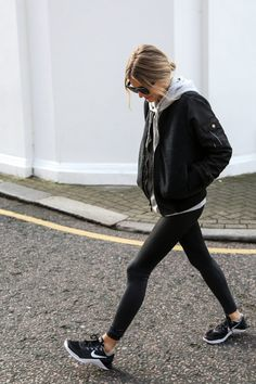 Leggings you can wear pretty much anywhere black leggings outfit summer, black bomber jacket outfit Black Bomber Jacket Outfit, Blazer Outfit, Black Leggings Outfit, Casual Blazer, Legging Outfits, Men's Jacket, Tribal Leggings, Black Sneakers Outfit, Woman Clothing