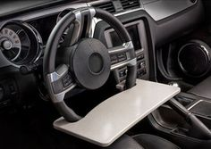 Make your driver's seat into a practical work station with the AutoExec 13000 Automobile Steering Wheel Attachable Work Surface . This steering wheel. Rat Rod Pickup, The Road Warriors, Car Office, Funny Office, Travel Office, Grey Desk, Dodge Trucks, Truck Drivers, Pickup Trucks
