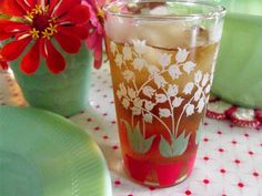 vintage drinking glass, love these or something similar. check etsy, thrift stores, garage sales