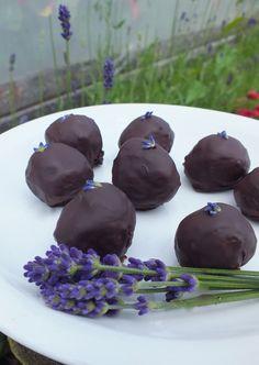 Homemade lavender chocolate truffles