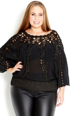 Crochet hairpin lace with fabric inlays. City Chic - FESTIVAL JUMPER - Women's plus size fashion