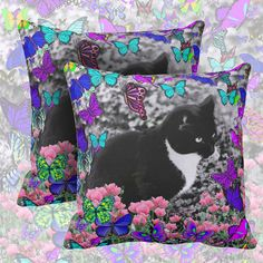 Freckles in Butterflies III, Black and White Tux Cat | Throw Pillows from Zazzle ... other styles, other designs, other products are available. #DianeClancy
