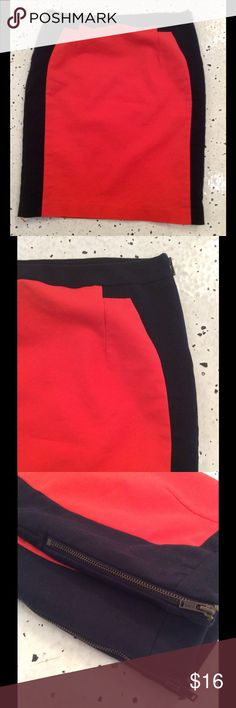 Color block skirt Super flattering pencil skirt in cherry red and deep navy. Cotton/spandex with polyester lining. Side zippers. No flaws! Worthington Skirts Pencil