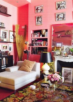 bubblegum pink gone sophisticated - great with white chaise and black accents