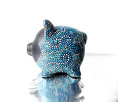 Piggy Bank Hand painted Piggy Dot painting by PearlesPainting Pottery Painting, Dot Painting, Ceramic Painting, Easy Crafts For Kids, Easy Diy Crafts, Diy For Kids, Pig Bank, Dark Blue Green, Light Blue