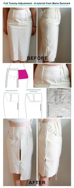 Full Tummy Adjustment - A tutorial from Maria Denmark http://byhandlondon.com/blogs/by-hand-london/14227713-sewing-indie-month-a-tutorial-from-maria-denmark