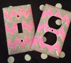 Glittered Pink & Silver Chevron Outlet/Light Switch Set