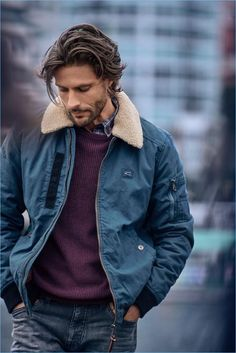 Ryan Burns, Tommy Dunn & Kevin Pabel Embrace Rugged Style for Camel Active Fall Campaign, Tommy Dunn fronts Camel Active's fall-winter 2017 campaign. Handsome Men Quotes, Handsome Arab Men, Rugged Style, Medium Hair Styles, Long Hair Styles, Haircuts For Men, Mens Longer Hairstyles, Long Hairstyles For Men, Long Wavy Haircuts