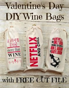 Valentine's Day DIY Wine Bag Designs with Free Cut Files