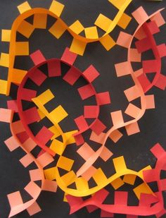 Relief sculpture color theory left over paper art strip recycling movement