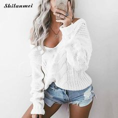 LASPERAL Winter Sexy Deep V-Neck Twist Knitted Sweaters Women Long Sleeve Off Shoulder Sweater Femme 2018 Autumn Outwear Sweater-. Casual Sweaters, Winter Sweaters, Cable Knit Sweaters, Long Sweaters, Loose Sweater, Long Sleeve Sweater, Outfits Damen, Off Shoulder Sweater, Sweat Shirt