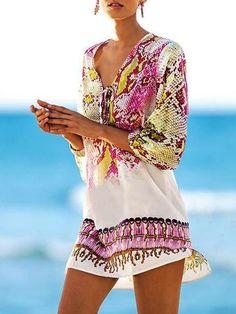 Tribal Print V Neck Casual Beach Dress Cover Up - Beachwear Sexy Bikini, Bikini Dress, Bikini Cover Up, Swimsuit Cover Ups, Bikini Swimwear, Bikini Beach, Bohemia Dress, Print Chiffon, Chiffon Fabric