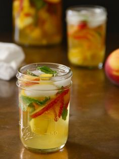 Mango, Mint, and Peach Sangria made with soda water no sugar added