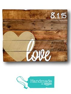 Wood Love Sign/ Alternative Wedding Guestbook/ Wedding Date Sign/ Wood Guest book Sign from Pallets and Paint http://www.amazon.com/dp/B016VUQPW4/ref=hnd_sw_r_pi_dp_Z8Orwb0QEZGE7 #handmadeatamazon