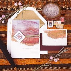 Joshua Tree Desert Watercolor Wedding Invitation Suite honey-paper.com…