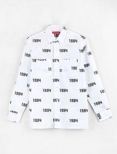 Gosha Rubchinskiy 1984 Allover Print Shirt White/Black, #VooBerlin
