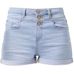 41869aa5c4 Light Blue Denim High Waisted Shorts (55 BRL) ❤ liked on Polyvore featuring  shorts