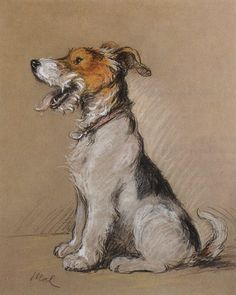 "Lucy Dawson Terrier Art (she went by ""MAC"" for some of her best known work, her postcard word for publisher Valentines & Sons) She painted for the Royal family in England as well producing christmas cards and a portrait of the favorite Corgi."