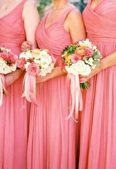 Bright coral, pink ribbons, matching loveliness // Amy Nicole Photography