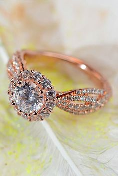 Engagements Rings : 27 Rose Gold Engagement Rings That Melt Your Heart ❤ See more: www. Wedding Rings Simple, Beautiful Wedding Rings, Wedding Rings Rose Gold, Wedding Rings Vintage, Bridal Rings, Vintage Engagement Rings, Diamond Wedding Bands, Wedding Jewelry, Gold Wedding