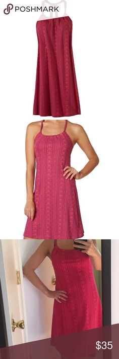 PrAna Quinn Dress in Fuchsia The Quinn has a scoop neck design, unique double strap racerback style, and an internal shelf bra for added support. Prana Dresses Midi