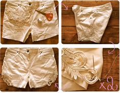 DIY : Lace embellished cut-off shorts // Short en jean à dentelle Paper Doily Crafts, Doilies Crafts, Diy Pantalones Cortos, Diy Lace Shorts, Denim Shorts, Look Hippie Chic, Moda Blog, Embellished Shorts, Diy Vetement