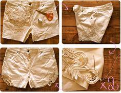 DIY : Lace embellished cut-off shorts