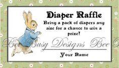 Peter Rabbit Diaper Raffle Ticket | Bee Busy Designs