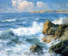 The Athenaeum - San Diego Shores (Maurice Braun - ) San Diego, Ocean Art, Ocean Waves, Seascape Paintings, Landscape Paintings, Oil Paintings, Sunrise Pictures, European Paintings, Coastal Art