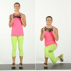 Curtsy Lunge - step back - put most of your weight on the front foot.  Back leg on the ball foot.