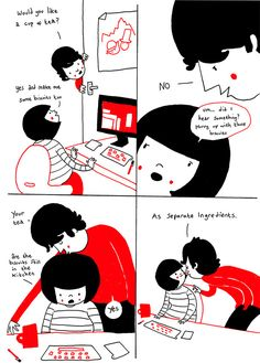 A beautiful set of illustrations about the daily life of relationships. 1 of 5.
