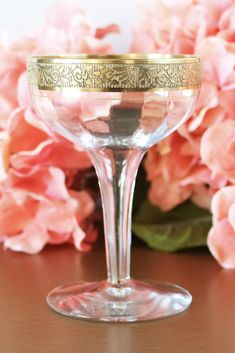 cf460b332a60 A rare and delicate set of antique hollow stem champagne coupe glasses with  fine etched gold