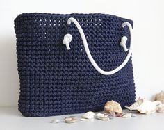 Blue crochet bag/ Navy beach bag/ Blue summer bag/ Blue knit bag/ Rope bag/ Navy blue bag/ Summer tote