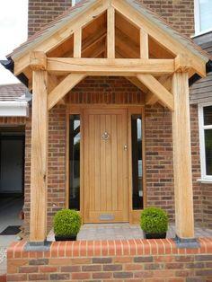 ideas oak front door porch for 2019 Front Door Canopy Uk, Porch Canopy, Front Door Porch, Front Porch Design, Front Door Entrance, House Front Door, Front Door Colors, House With Porch, Entrance Decor