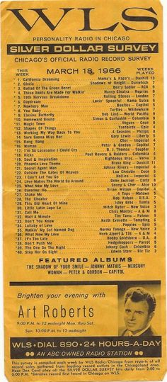 WLS radio playlist, 1966.  I love you, Larry Lujack, Tommy Edwards, and  Fred Winston.