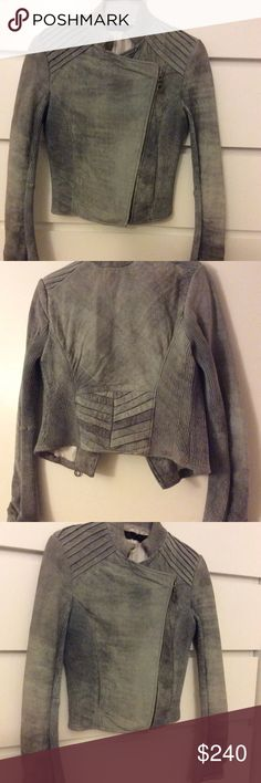 L.A.M.B leather jacket Used but beautiful soft jacket. Color is gray/silver/blue. Good condition. L.A.M.B. Jackets & Coats