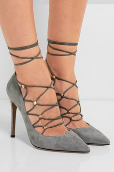 Heel measures approximately 105mm/ 4 inches Stone suede and leather Lace-up…