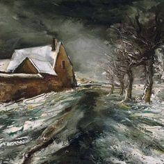 Maurice de Vlaminck, (Francia, 1876-1958) Paesaggio innevato
