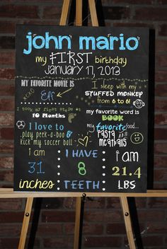 Custom Printable First Birthday Board Poster. $30.00, via Etsy.