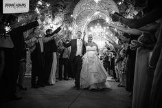 Sparkler exit at the end of their Bella Collina wedding and reception.  Wedding photo by Orlando Florida wedding photographer Brian Adams PhotoGraphics  www.brianadamsphoto.com