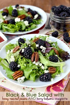 Black & Blue Spring Salad with Honey-Roasted Pecans and Berry-Balsamic Vinaigrette is a fresh and light, gluten-freee side salad. Add shrimp, chicken, or steak to make it a meal. #glutenfree | iowagirleats.com