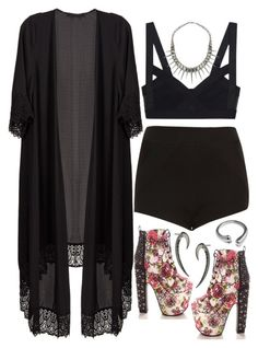 816. Hey! We Ok by adc421 on Polyvore featuring polyvore, fashion, style, Topshop, Wilhelmina Garcia, Rebecca Minkoff, Shaun Leane, floral, black, kimono and platfroms