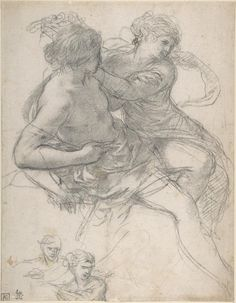 Study of Two Figures for the Age of Gold - Pietro da Cortona (Pietro Berrettini) (Italian, Cortona Rome) Life Drawing, Drawing Sketches, Painting & Drawing, Art Drawings, Caravaggio, Figure Sketching, Figure Drawing, Old Master, Renaissance Art