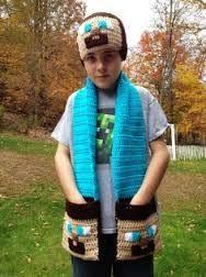 Minecraft Inspired Steve Beanie and Pocket Scarf - Crochet Hat, 2015 Halloween - Funny crochet Minecraft craft for kids by BigMinecraftFan Crochet Scarves, Crochet Yarn, Crochet Clothes, Crochet For Boys, Cute Crochet, Funny Crochet, Crochet Amigurumi, Crochet Beanie, Crochet Character Hats
